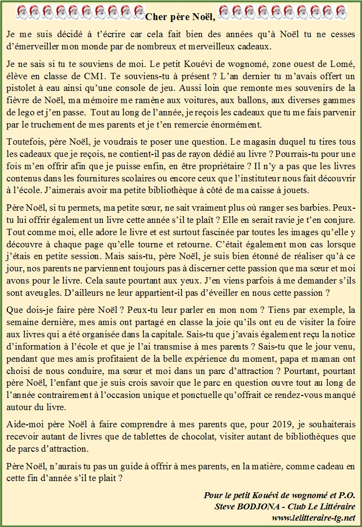 Site Lettre Au Pere Noel.Lettre Au Pere Noel Site Officiel Du Club Le Litteraire